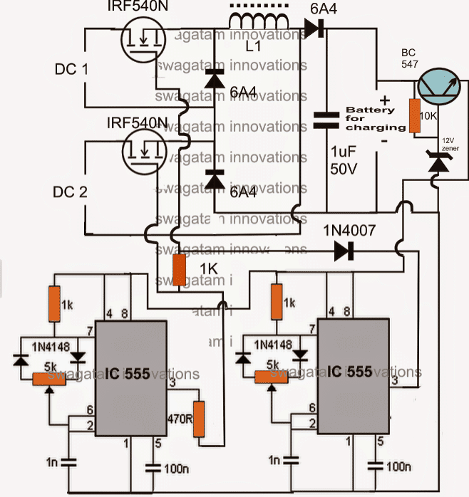 Solar, Wind Double DC Input Hybrid Energy Battery Charger Circuit
