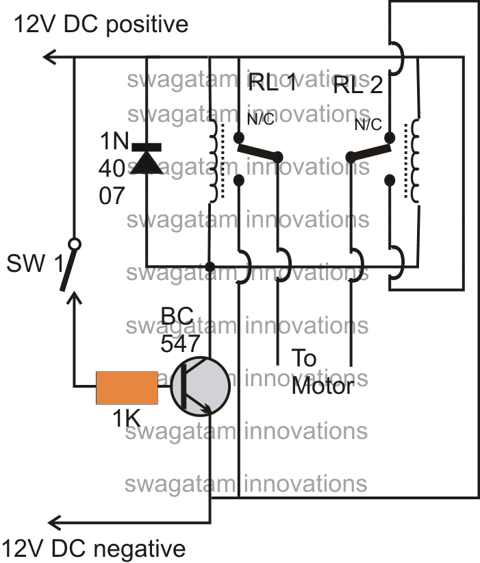 Operating a DC Motor Clockwise/Anticlockwise with a Single Switch