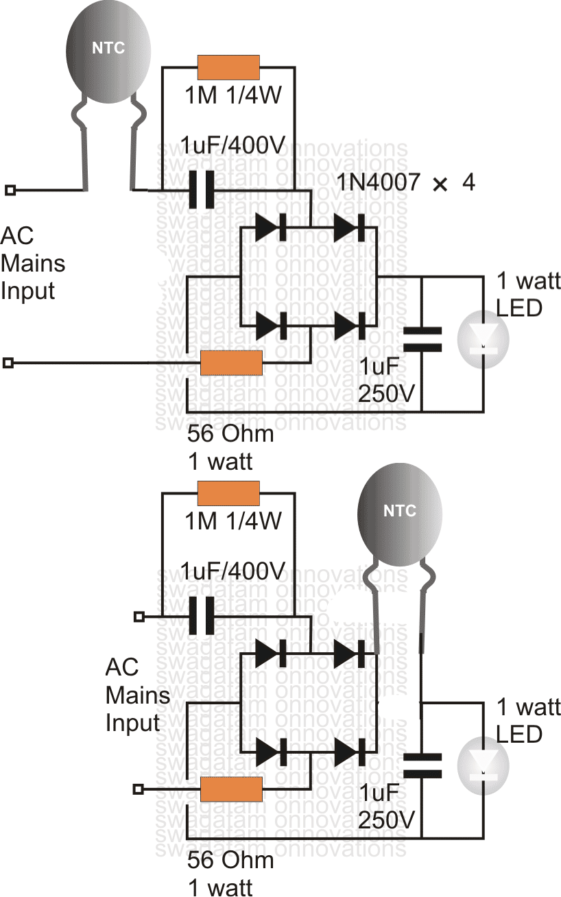 surgeprotectedleddrivercircuit using an ntc thermistor as a surge suppressor ntc thermistor circuit diagram at mifinder.co
