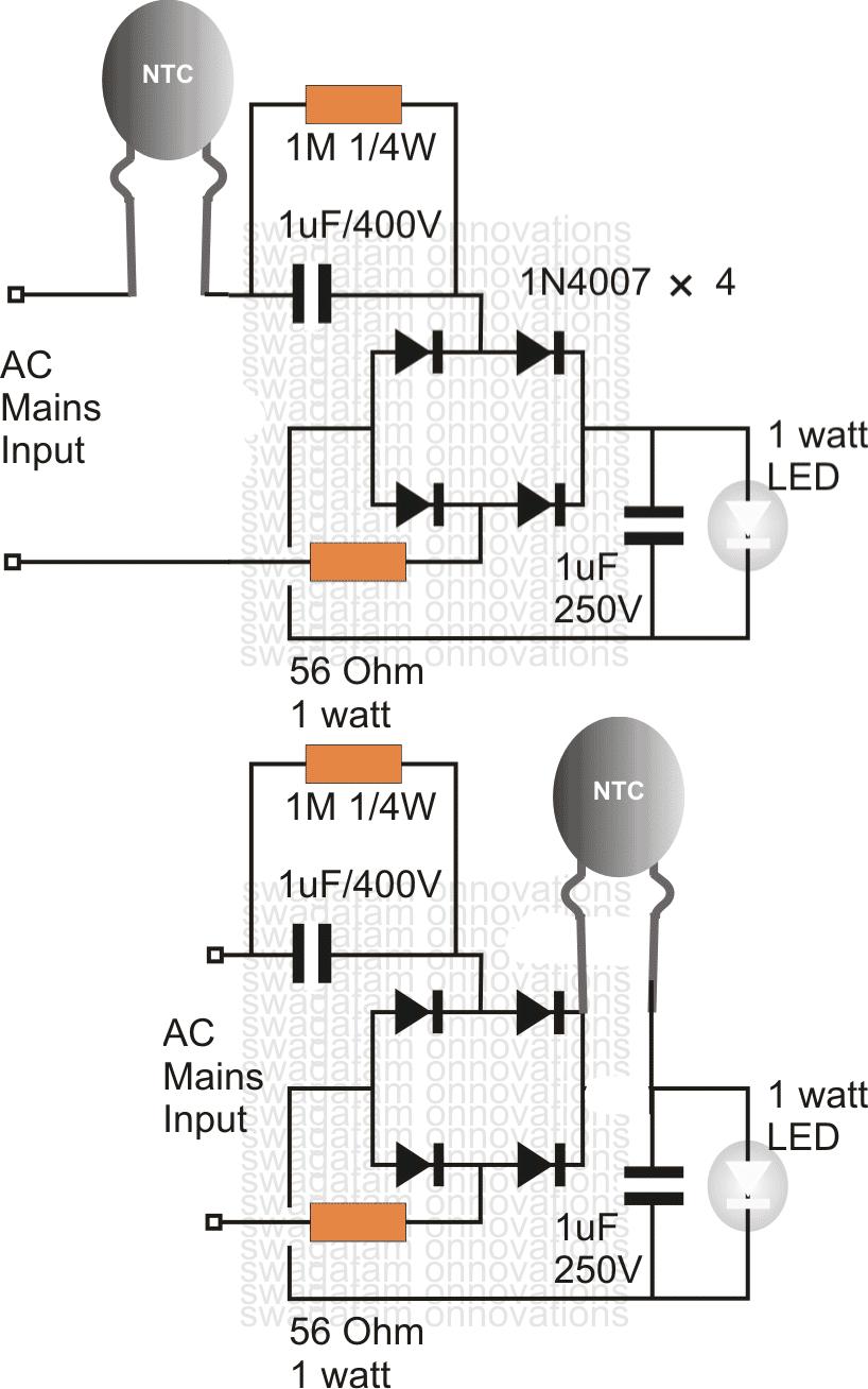 surgeprotectedleddrivercircuit using an ntc thermistor as a surge suppressor ntc thermistor circuit diagram at gsmportal.co