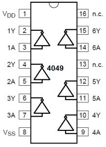 IC 4049 pinout details