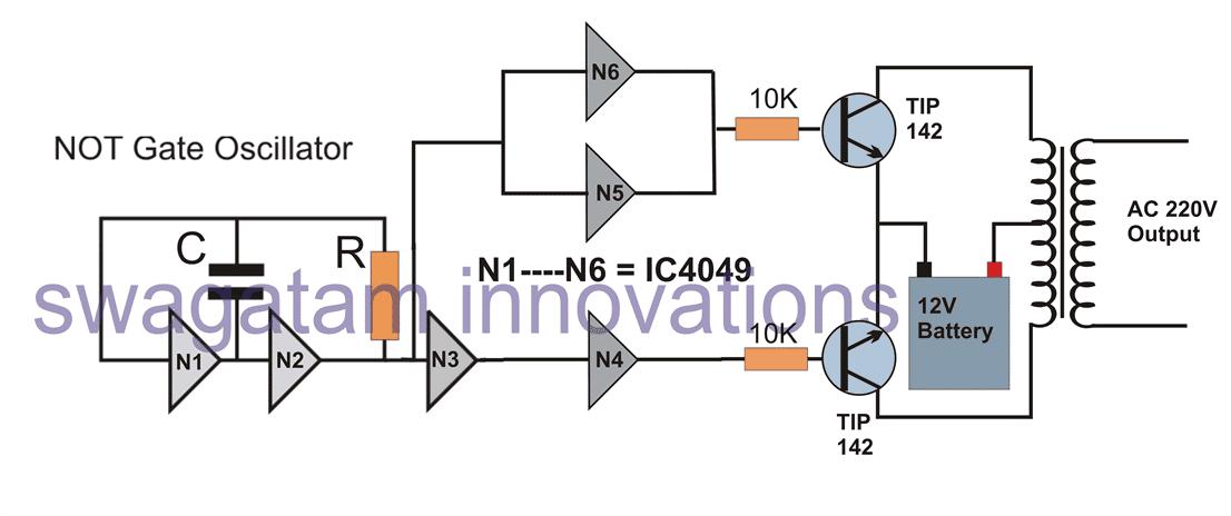 simple inverter circuit using IC 4049