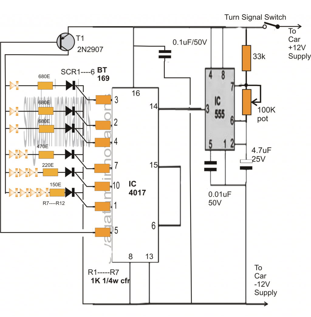 sequential bar graph turn light indicator for car