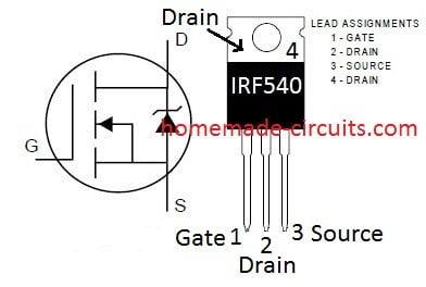 IRF540 pinout details