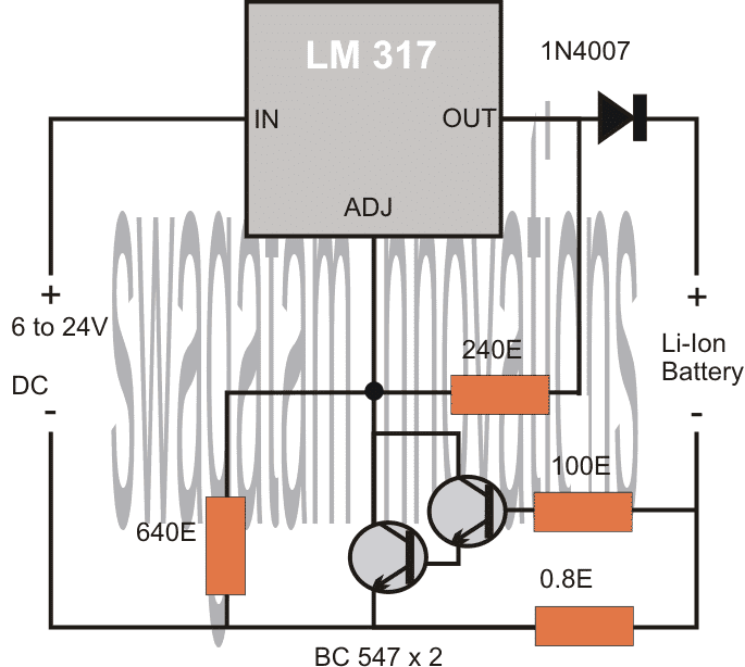4 Simple Li-Ion Battery Charger Circuits – Using LM317, NE555, LM324