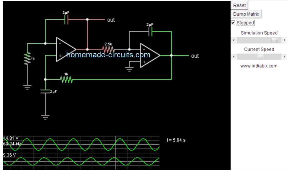 simple sine wave generator circuit using two opamps