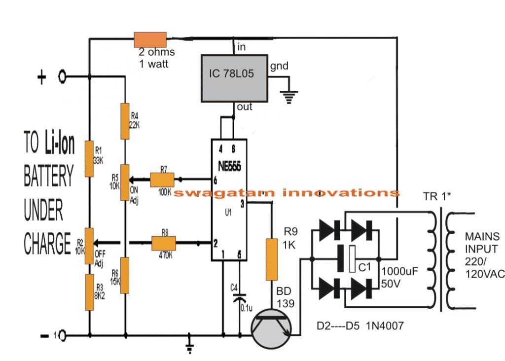 Li Ion Battery Charger Circuit Using Ic 555