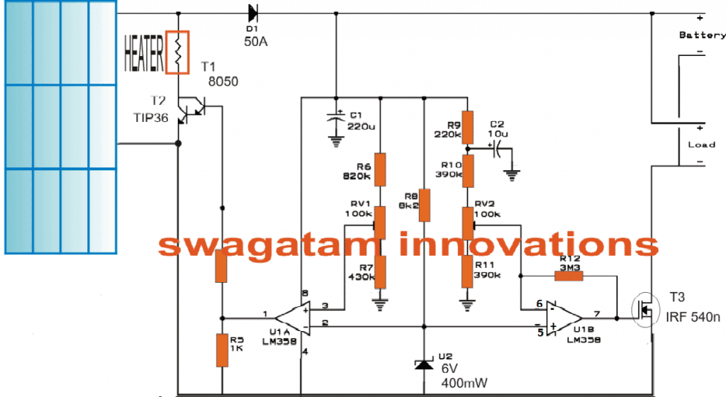 Solar water heater with battery charger homemade circuit projects diagram for the solar water heater with battery charger controller circuit ccuart Image collections
