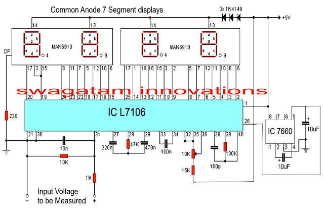 Digital Voltmeter Circuit Using Ic L7107