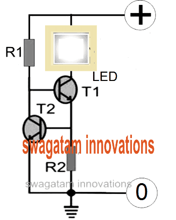 transistor based LED current limiter circuit
