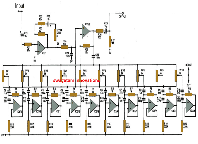 10 Band Graphic Equalizer Circuit