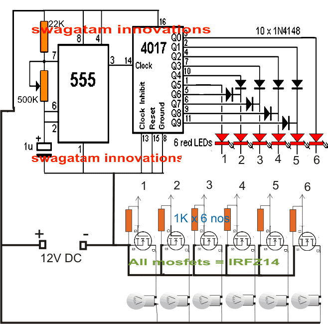 Chaser circuit with MOSFETs and car bulb
