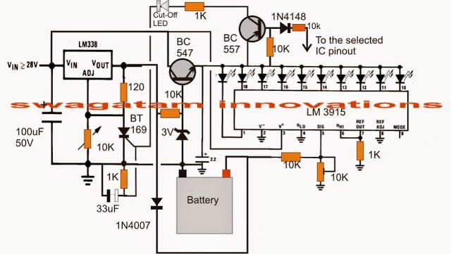 3v, 4.5v, 6v, 9v, 12v, 24v, Automatic Battery Charger with Indicator Circuit