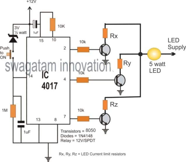 push button led brightness control circuit