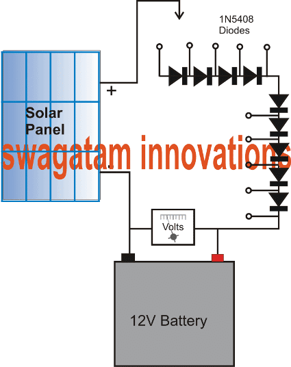 simplest solar charger using diodes only