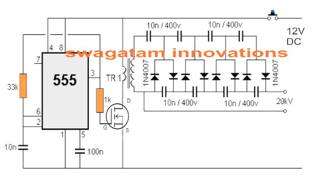 Simple Stun Gun Circuit using IC 555