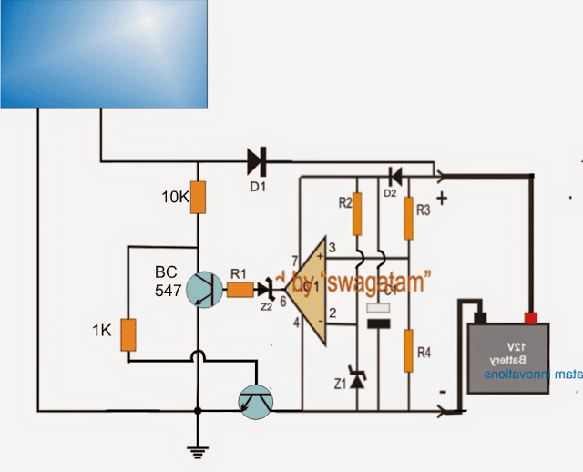 zero drop solar charger circuit without microcontroller