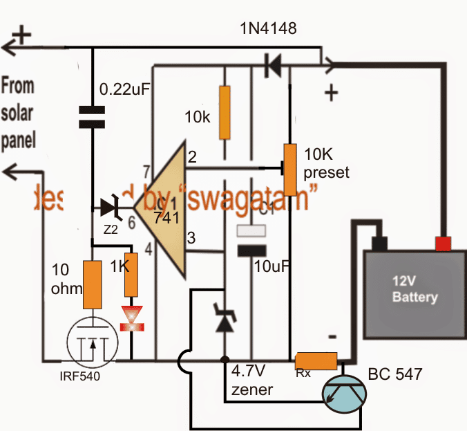 Simple Zero Drop Solar Charger Circuit without Microcontroller and current controlled