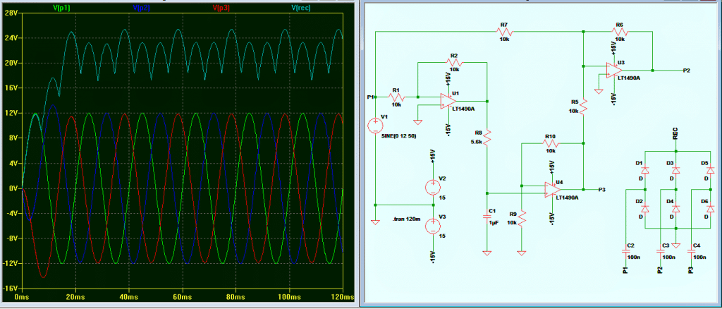 3 phase signal generator with waveform diagram