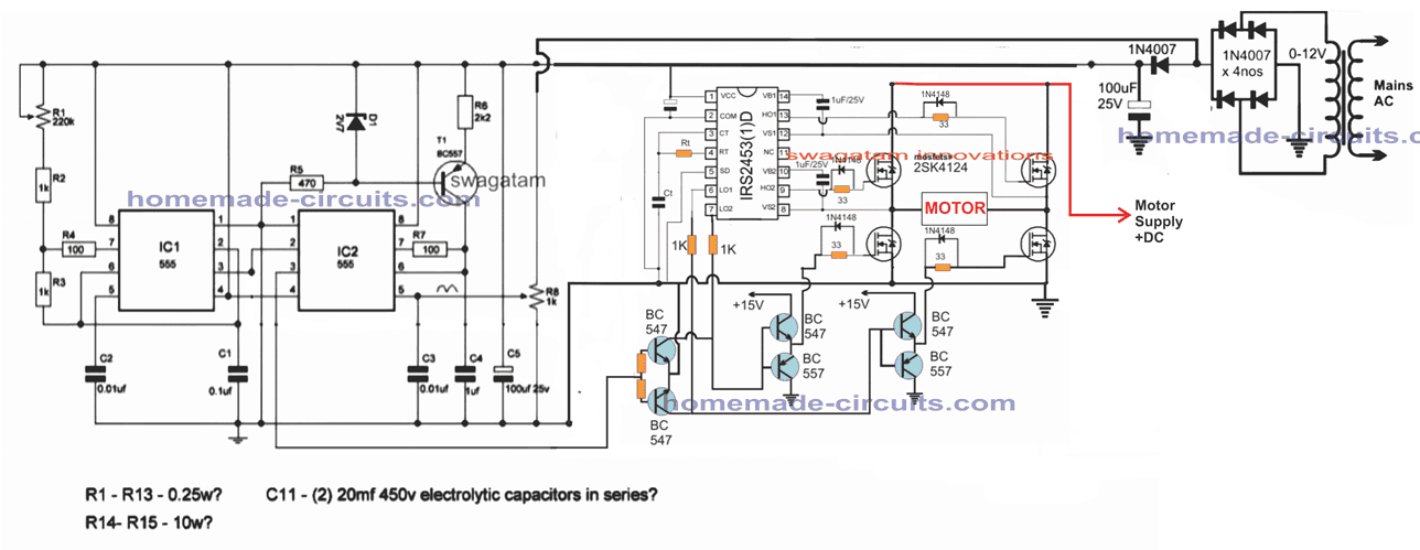 single phase VFD circuit using full bridge driver