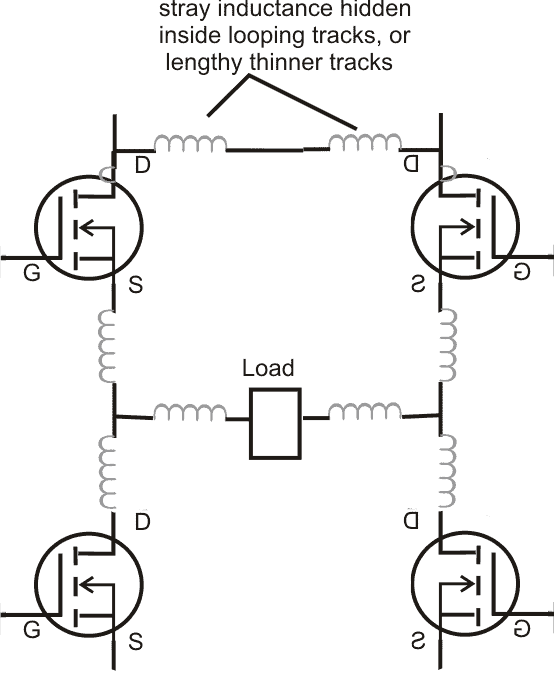 protect mosfet by removing stray inductance