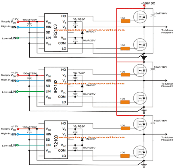 Simple effective 3 phase inverter circuit