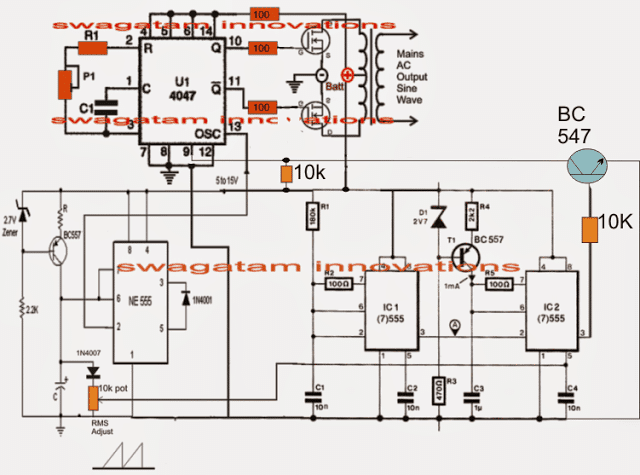 4047 pwm inverter circuit 1 - Pure Sine Wave Inverter Circuit Using IC 4047