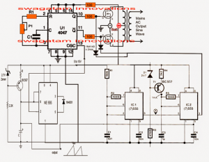Pure Sine Wave Inverter Circuit Using IC 4047