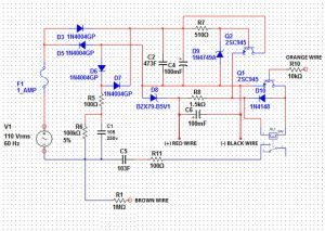Stabilized Transformerless Power Supply Circuit with Relay Driver Stage