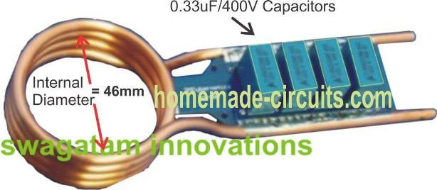 induction heater coil diameter and capacitor details