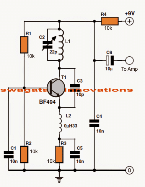 9V FM radio circuit with output for amplifier