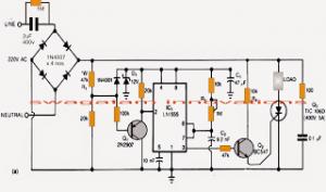 Switching Transformerless Power Supply using IC 555