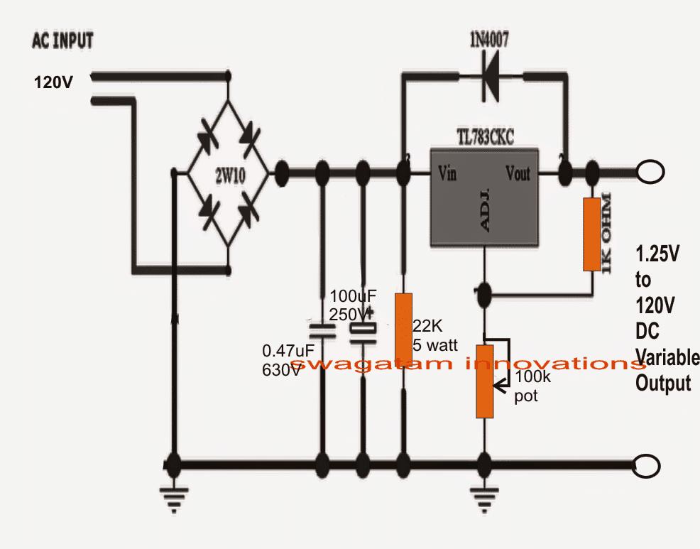 1.25V to 120V Mains Adjustable Voltage Regulator Circuit