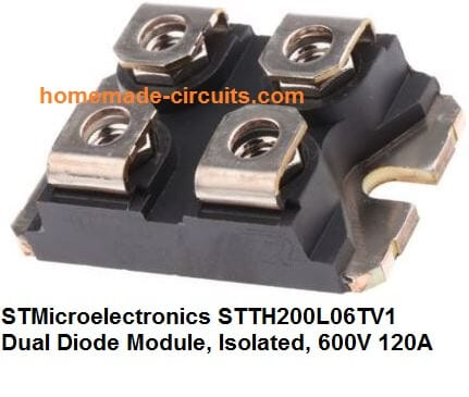 STMicroelectronics STTH200L06TV1 Dual Diode Module, Isolated, 600V 120A