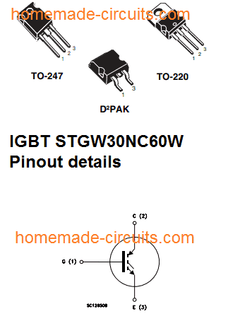induction heater IGBT pinout details