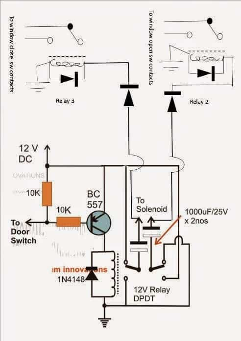 Car Door Close Optimizer circuit using relay solenoid