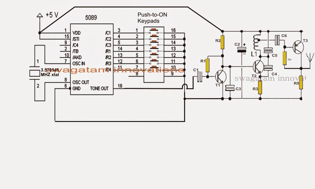 dtmf FM transmitter circuit 1 - DTMF based FM Remote Control Circuit