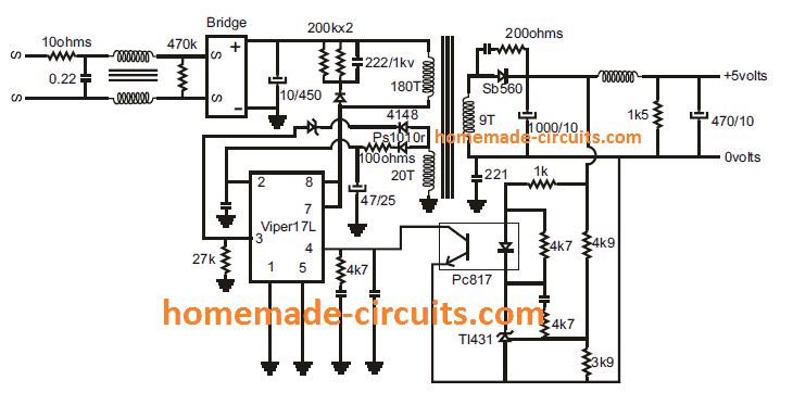 SMPS circuit using VIPer17 IC