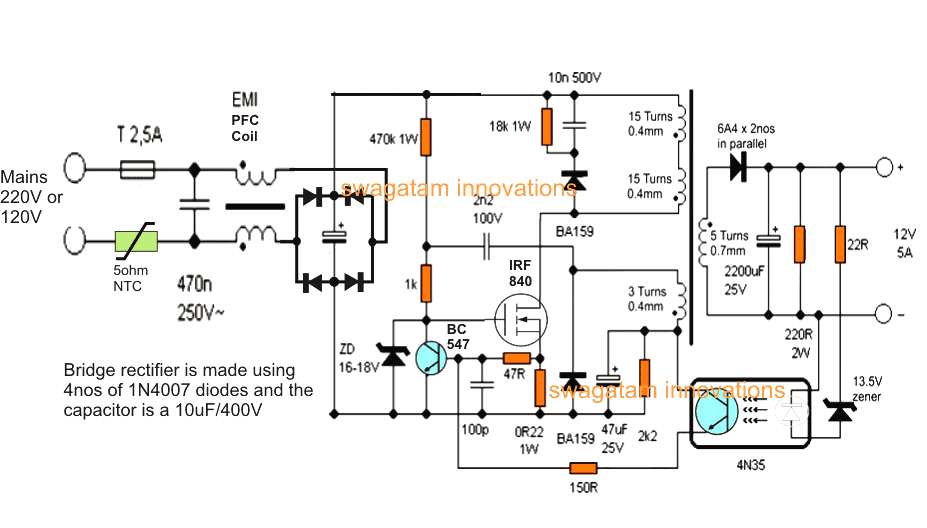 12v  5 amp smps battery charger circuit