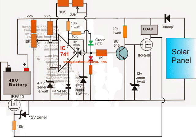 48v solar battery charger circuit with high low cut off homemade Solar Inverter Wiring Diagram