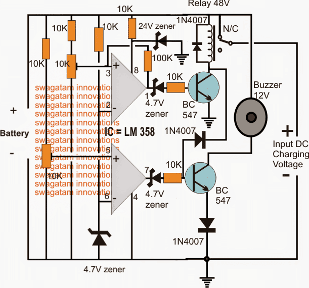 Battery charger circuit with buzzer indicator