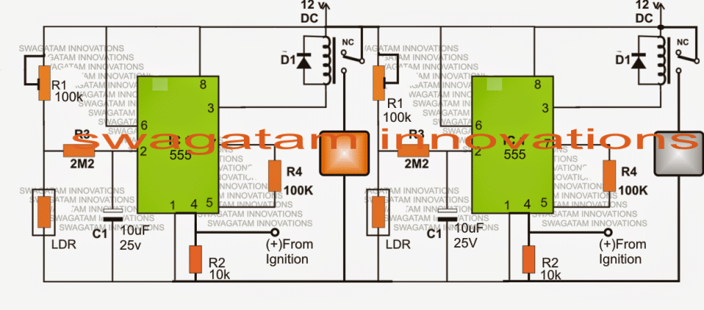 Darkness Activated Car Head Lamp Circuit with DRL