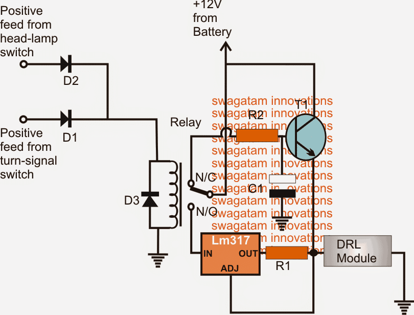 Smart Car DRL Controller relay Circuit with dimming facility