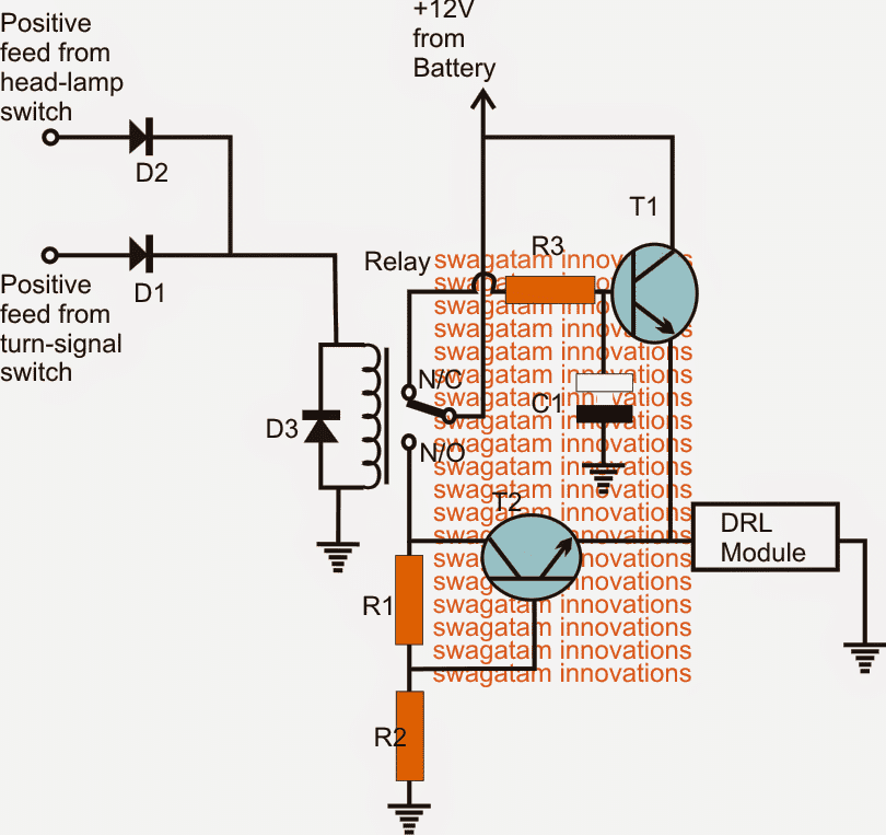 Modified Car DRL relay Controller Circuit