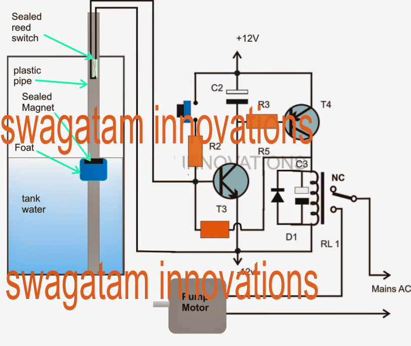 Float Switch Controlled Water Level Controller Circuit