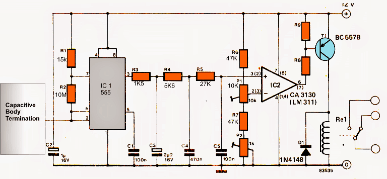 IC 555 capacitive switch circuit
