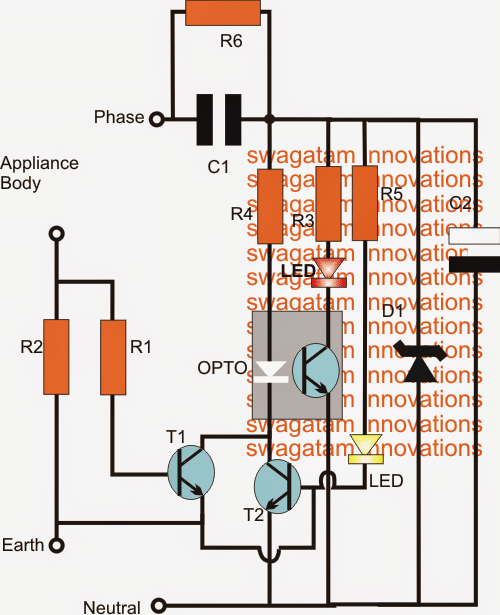 Earth Leakage Indicator Circuit for Detecting Current Leakages in Ground Wires
