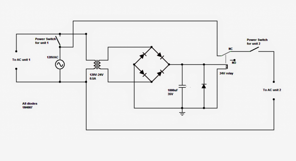 dual a  c relay changeover circuit