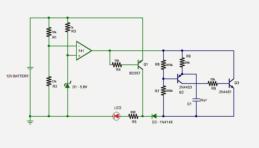 Single Flashing LED Battery Low Indicator Circuit
