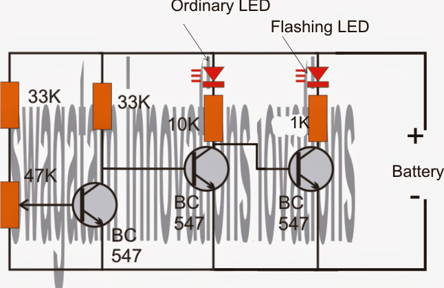 Flashing LED Battery Low Indicator Circuit